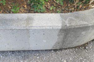 コンクリートの黒カビ防止テスト施工